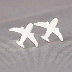 NWOT Tiny 925 Sterling Airplane Stud Earrings